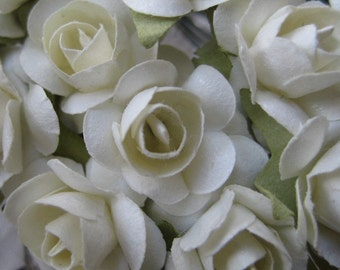 24 Petite Handmade Paper Millinery Roses For Crafts And Weddings In White