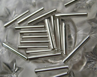 Mercury Glass Beads 20 Czech Republic Silver Tube Christmas Garland Beads 15mm