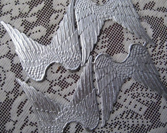 Made In Germany 4 Large Silver Foil Dresden Angel Wings