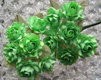 Paper Flowers 12 Open Handmade Millinery Roses In Light Green