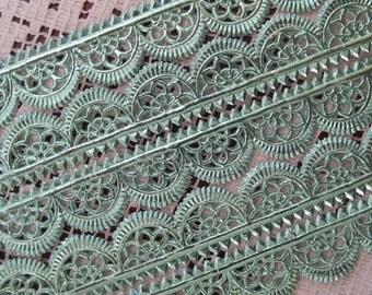 Dresden Trim Germany 5 Rows Of Fancy Scallop Aqua Paper Lace  DFW 204 SF