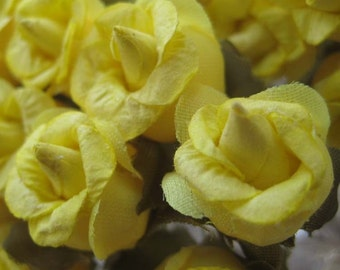 Paper Millinery Flowers 24 Frilled Roses In Yellow