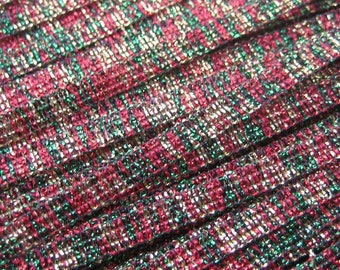 3 Yards Vintage Metallic Red Green And Gold Trim  Old Store Stock  VT 29