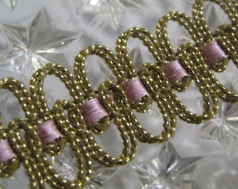 2  Yards Vintage Metallic Trim In Gold And Orchid  Old Store Stock VT 59