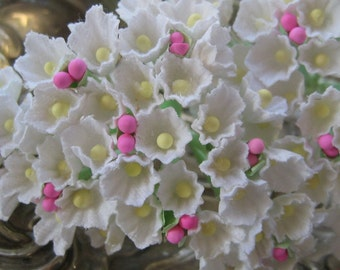 2 Bouquets Millinery Paper Flowers Forget Me Nots in White With Pink Peps