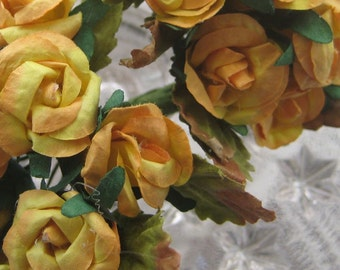 Paper Millinery Flowers 18 Handmade Cottage Roses In Goldenrod