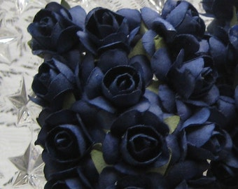 24 Petite Handmade Paper Millinery Roses In Navy Blue