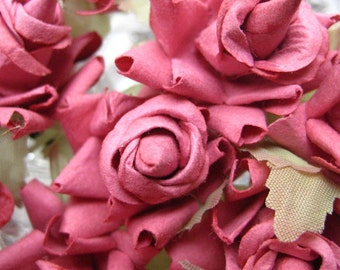 Paper Millinery Flowers 12 Dainty Roses In Dusty Rose