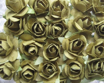 24 Petite Handmade Paper Millinery Roses In Olive Green