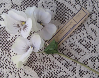 Vintage Millinery Flowers Made In Germany 3 Fabric Pansies In White
