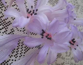 Vintage Japan Handmade Millinery Silk Hyacinth Flowers