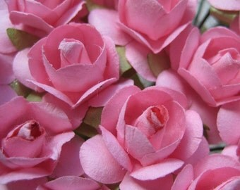 Paper Millinery Flowers 24 Small Handmade Roses In Pink