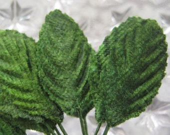 Millinery Leaves 24 One Inch Green Velvet Fabric