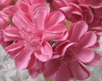 Paper Millinery Flowers 12 Handmade  Zinnias In Deep Pink