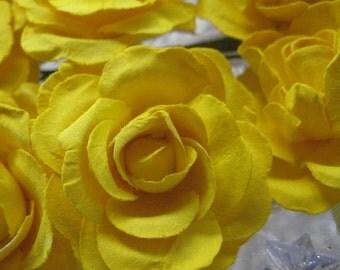 Paper Millinery Flowers 12 Sweet Handmade Roses Flowers In Yellow