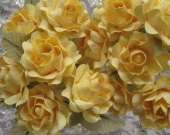 12 Open Paper Millinery Roses In Yellow
