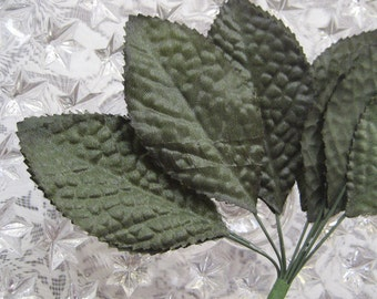 12 Large Deep Green Satin Fabric Millinery Leaves  BDL 3
