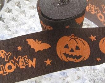 Halloween Pumpkins Germany Crepe Paper Streamer Roll Orange On Brown