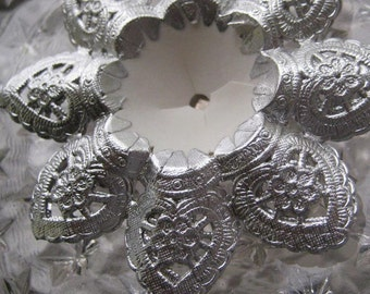 3 Made In Germany Fancy Silver Paper Lace Wedding Bouquet Holders