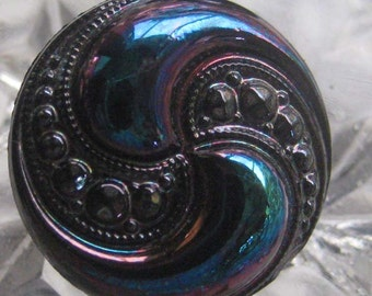 Germany 4 Iridescent Glass Buttons Blue And Purple