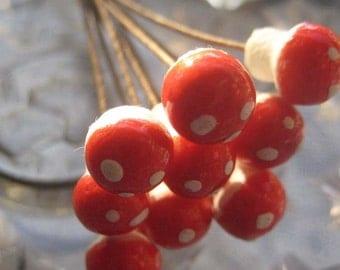 Spun Cotton Mushrooms Made In The Czech Republic 10 Tiny Lacquered Mushrooms  MU-107
