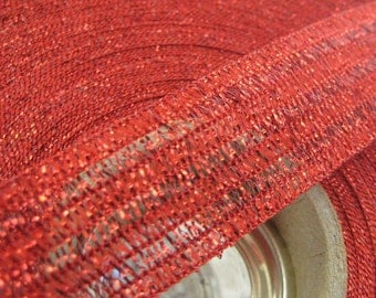 15-1/2 Yards Wholesale Lot Vintage Metallic Trim Wired Red Old Store Stock