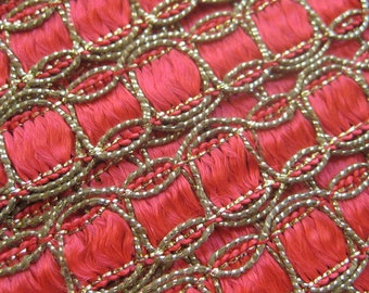 2 Yards Vintage Metallic Red And Gold Trim  Old Store Stock VT 1A