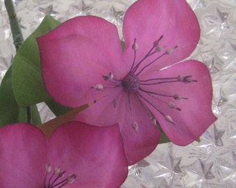 Vintage Millinery Flowers Made In Germany 2 Fabric  Clematis Blossoms In Violet