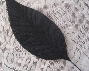 Millinery Velvet Leaf One Jumbo Black Velvet Leaf