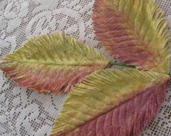 Millinery Velvet Leaf Triple Velvet Leaves In Yellow And Pink Ombre  NL 010