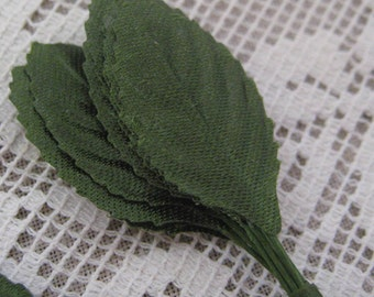 Millinery Leaves 24 Small Green Satin Fabric Leaves BDL 18