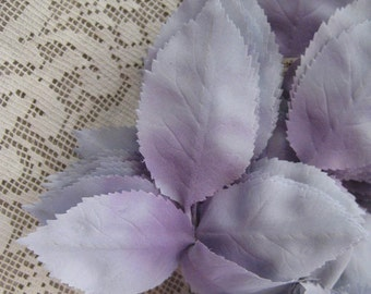 Vintage Millinery Leaves 1950s Germany Blue And Lavender Ombre Silk Rose Leaves