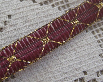 3 Yards Delicate Narrow Metallic Trim In Cranberry Red And Gold. IT 9
