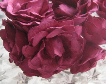 Paper Millinery Flowers 12 Sweetheart Roses In Fuchsia