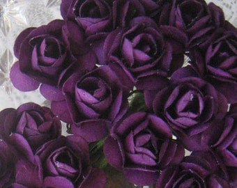 Paper Flowers 24 Small Millinery Roses In Royal Purple