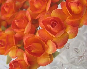 Paper Millinery Flowers 24 Small Handmade Roses In Hot Orange