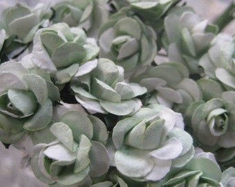 Paper Flowers 24 Petite Millinery Roses In Green Mix