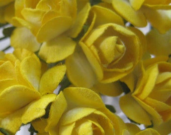 Paper Millinery Flowers 24 Petite Handmade Roses In Bright Yellow
