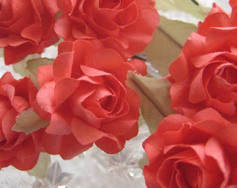 12 Open Handmade Paper Millinery Roses In Coral