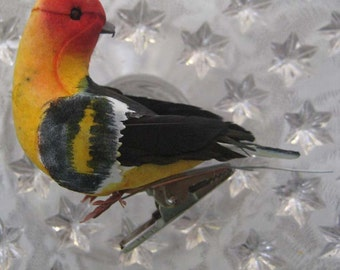 Bird Feather And Fiber Tanager Bird Handmade With Clip