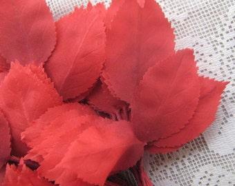 Vintage Millinery Leaves 1950s Germany Red Silk Rose Leaves