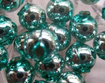 Mercury Glass Beads 30 Czech Republic Handmade Christmas Garland Beads 8mm Aqua