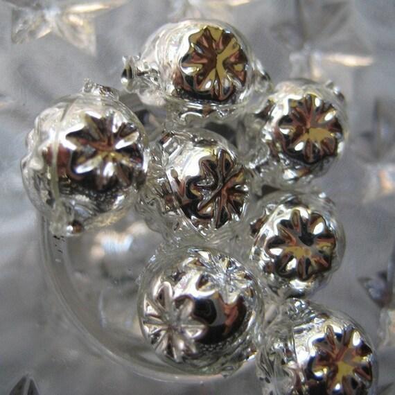 10 Fancy Mercury Glass Christmas Garland Beads Handmade In Czech Republic