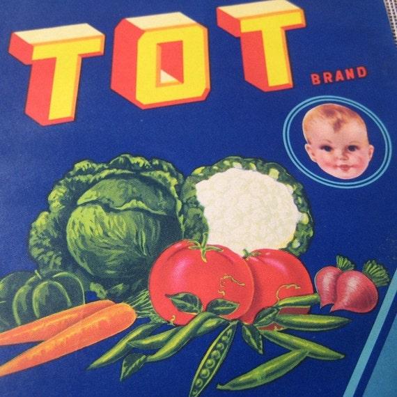 2 Vintage Lithograph Tot Vegetable Crate Labels
