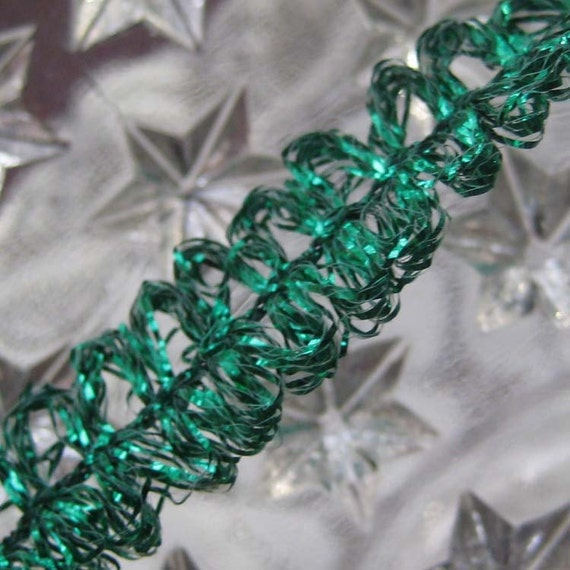 3 Yards Vintage Metallic Looped Green Tinsel  Old Store Stock