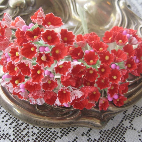 Forget Me Nots Paper Millinery Flowers 2 Bouquets In Red with Pink Peps