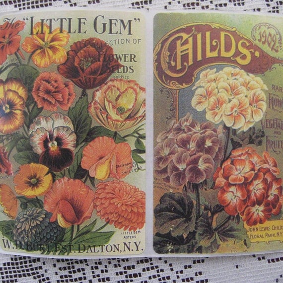 8 Vintage Seed Label Advertisement Stickers