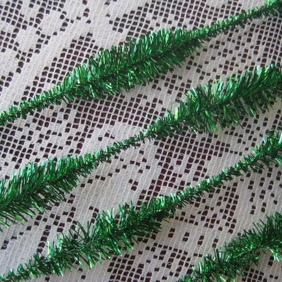 32 Vintage Bumpy Tinsel Sticks Stems In Metallic Green Old Store Stock