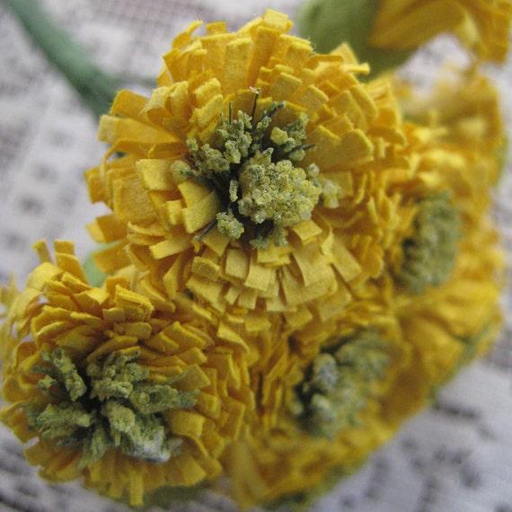 Millinery Flowers 12 Dark Yellow Paper Asters