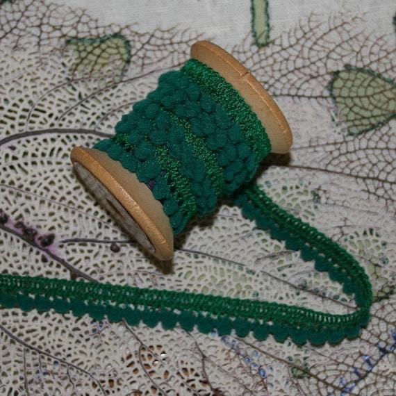 22-3/8 Yards Wholesale Lot Little Pom Pom Fringe In Emerald Green